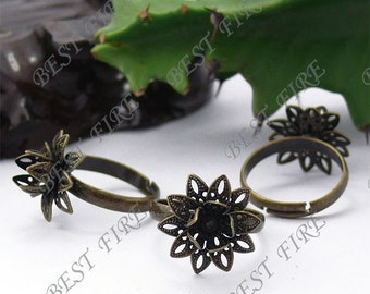 10pcs of  Adjustable Antique Brass Flower Ring Base