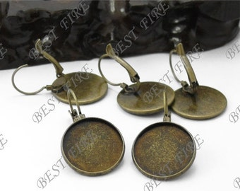 20pcs Antique Solid Brass French Earwires Hook With Round 18mm Pad,Blank Round Earwires Findings