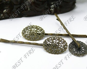 10pcs of Antique Bronze bobby pins Oval filigree pad 63 mm
