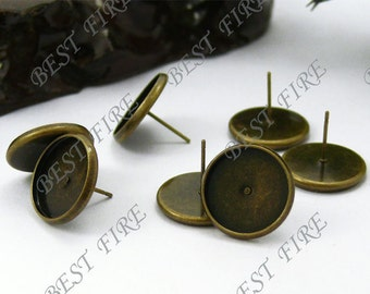 10pcs Antique Solid Brass Earring Posts With Round 14mm Pad