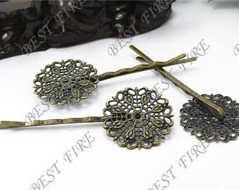 10pcs of Antique Brass bobby pins Round filigree pad 64 mm