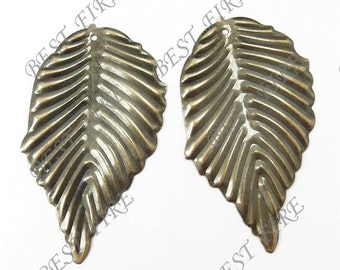 20 pcs of Antiqued brass metal  leafage sheets 32x56mm