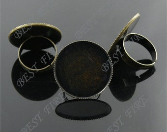 25 pcs Antique Brass Pad Open Adjustable RING Base Cabochon Size:20mm