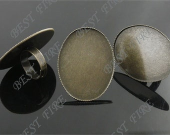 10 pcs Antique Brass Pad Open Adjustable RING Base Oval Cabochon Size:30x40mm,infrequent ring base findings bead