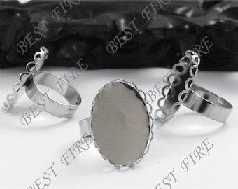 20 pcs platina tone Oval Pad Open Adjustable RING Base