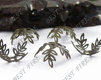 100pcs Of  Antiqued Brass  Filigree Flower Bead Caps 20mm