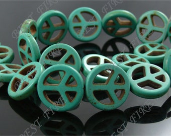 20mm  peace symbol Turquoise Loose beads strand