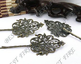 10pcs of Antique Brass bobby pins Round filigree pad 90 mm