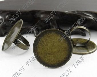 20 pcs Antique Brass Pad Open Adjustable RING Base Cabochon Size:30mm