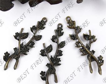 6pcs of Antique Bronze Lovely Flower Lesf Branch Charm Drop Pendant 25x68mm