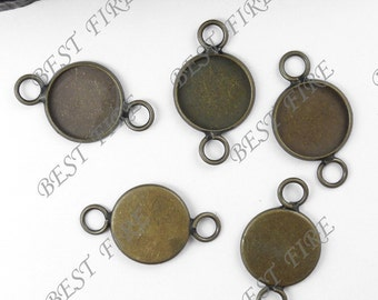 20 pcs of Antique Brass Round Cabochon Base Connectors Findings 14mm