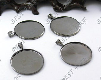 20 pcs of  Gunmetal plated Black  round Cabochon Pendant Base 20mm