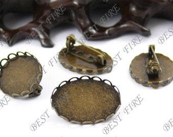 12pcs Antique Brass Pad  Oval lacework brooch Base 19x26mm (Cabochon Size:18x25mm)