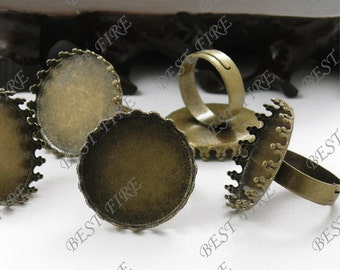 10pcs Antique Brass Pad Open RING Base Round Lacework Cabochon Base 25mm