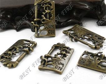 "6PCS Of  22x40MM  Antique Bronze Lovely ""NO WAY"" magical portal  Charm Pendant,metal finding,pendant bead"