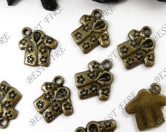 20PCS Of  14x16MM  Antique Bronze lovely Hawaiian shirt Charm Pendant,metal finding,pendant beads