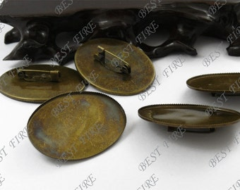 10pcs Antique Brass Pad  Oval brooch Picot Edge Base inside diameter 30x40mm,Blank brooch oval base findings beads