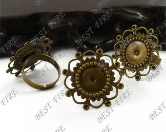 50pcs Antique Brass Adjustable Open RING Round Filigree Base Size 26mm Cabochon Size 12mm ,Ring Fingdings