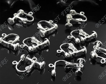 20 pcs of silver tone  brass leverback ear clip screw 14x16mm,earring findings