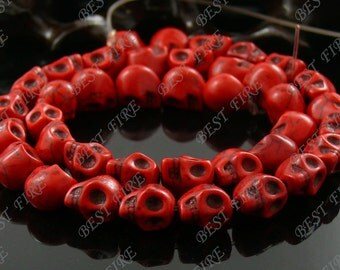 8x10mm Dyed Red Skeleton Turquoise Skull stone beads  Loose Strand,gemstone bead,loose bead 15.5INCH