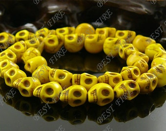 8x10mm Dyed Yellow Skeleton Turquoise Skull stone beads  Loose Strand,gemstone bead,loose bead 15.5INCH
