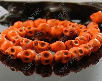 8x10mm Dyed Orange Skeleton Turquoise Skull stone beads  Loose Strand,gemstone bead,loose bead 15.5INCH