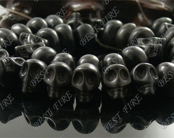 10x14mm Dyed Black Carved Skeleton Rainbow Turquoise Skull stone Beads,Loose strands beads