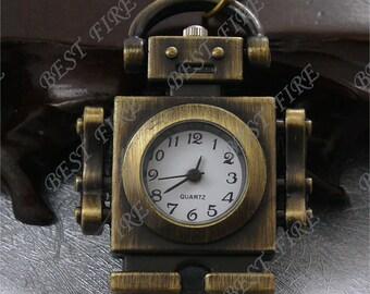 Antique Brass Lovely Robot Pocket Watch 33x40mm,Pendant Findings