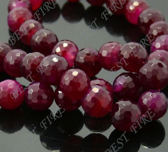 10mm of dark wine Faceted  Round  Agate  beads loose strands
