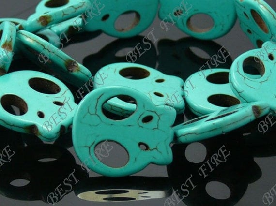 25x27mm Blue Skeleton Flat Carved Turquoise Loose Strand 16IN
