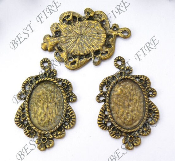 4pcs of Antique Brass Oval Cabochon Pendant Base 23x35mm (Cabochon Size:13x18mm)