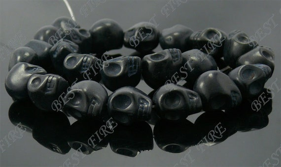 14x18mm  Black  Skeleton Turquoise Skull stone beads  Loose Strand 16IN