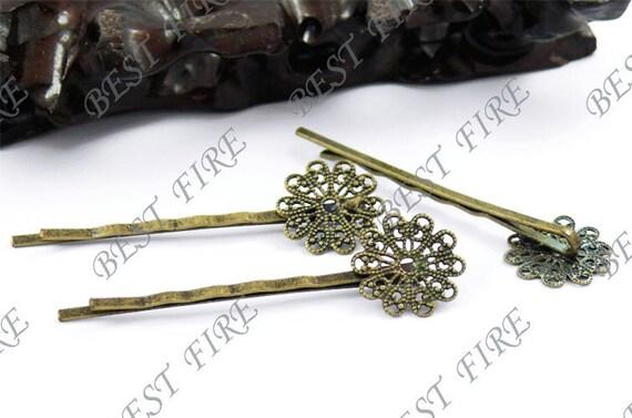 10pcs of Antique Brass bobby pins Round filigree pad 60 mm