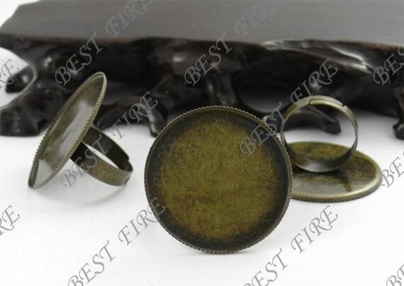 8 pcs Antique Brass Pad Open Adjustable RING Base Cabochon Size:30mm