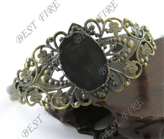 2pcs of New Style Antique Brass Adjustable bracelet Base  filigree Oval Cabochon Base