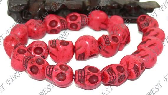 Carved Skeleton Red Turquoise Skull stone Beads 17mm full strand