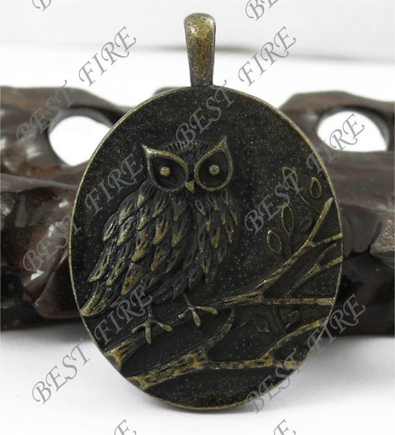 Antique Brass night owl two-sided pandent  findings 42x60mm
