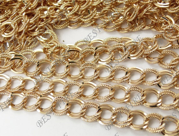 24 ft of gold tone oval fwave Chains metal double Open LInks Chain  9x10mm