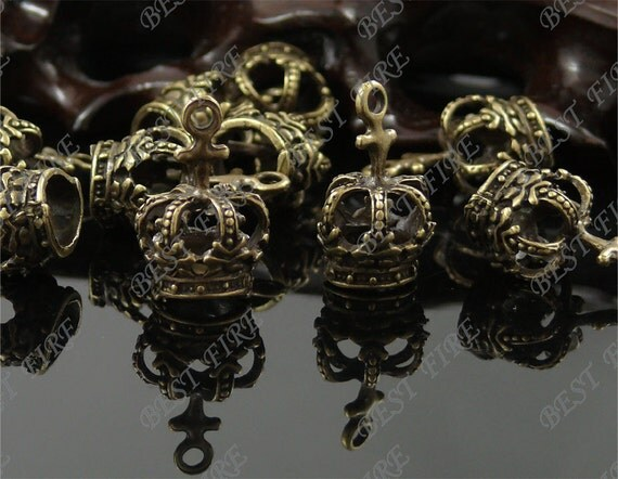 6PCS Of  Antique brass charming imperial crown drop pendant,metal finding,drop bead 14x21mm