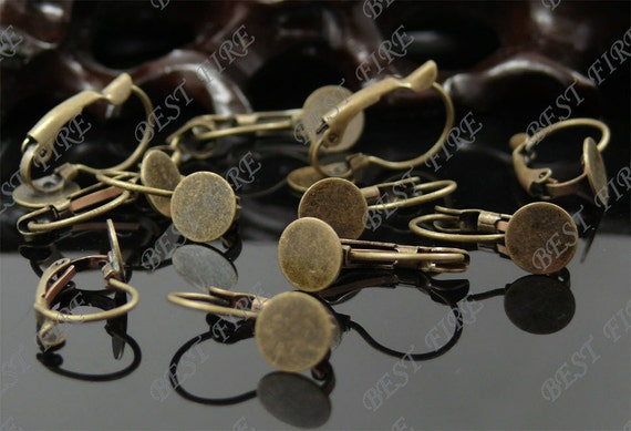 50pcs Antique Solid Brass French Earwires Hook With Round 8mm Pad