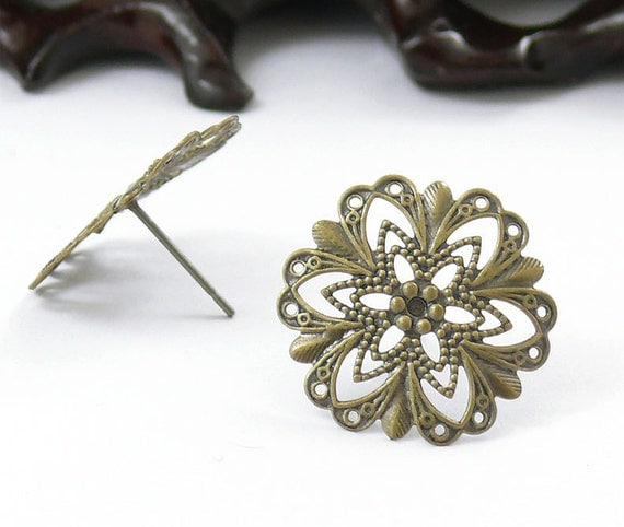 20pcs Antique Brass Earring Posts With Flower Filigree 20mm,Earring Findings