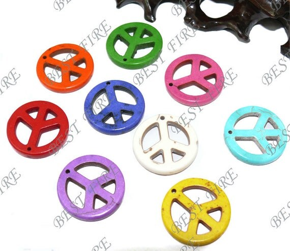 special offer 30 pcs of multicolour peace symbol Turquoise pendant 25mm,loose beads
