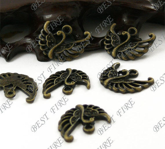 12PCS Of  18x22MM  Antique Bronze Lovely peafowl Charm Pendant,metal finding,pendant bead