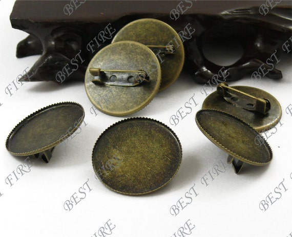 20pcs Antique Brass Pad Round brooch Picot Edge Base inside diameter 25mm,Blank brooch round base findings beads
