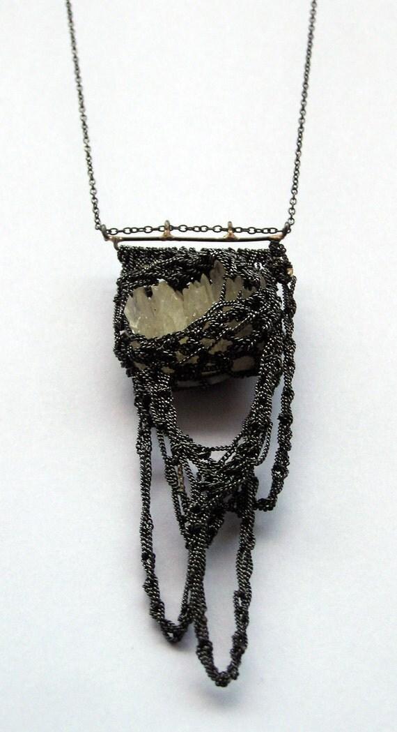 reserved for Karen - calcite cluster & hooks necklace