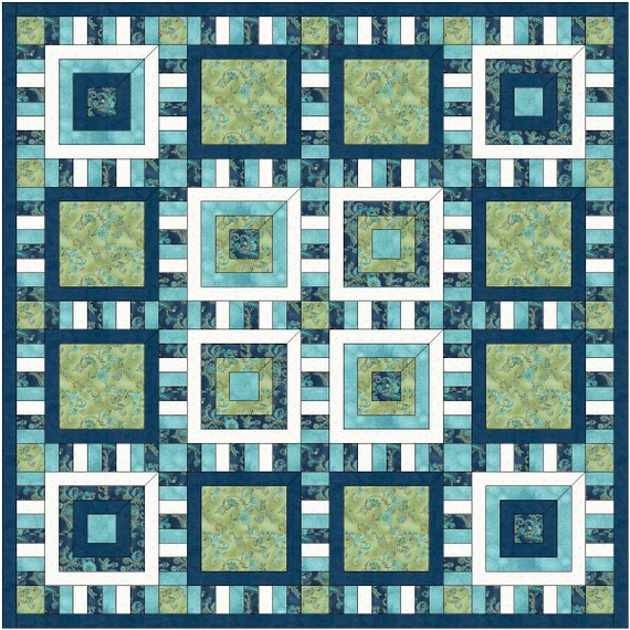 Quilt Patterns Five Inch Squares : Items similar to NEW All Square quilt pattern 5 one yard cuts FREE Shipping on Etsy