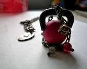 Kettlebell Charm Necklace - Brass and Beaded