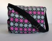 Pink and Black Argyle Diaper Bag