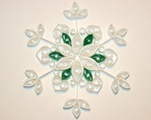 Quilled White Snowflake Ornament with Green Accents