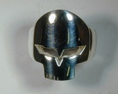"""Men's Solid Sterling Silver or Gold Corvette """"Jake"""" Skull Ring"""